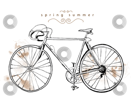 Illustration vintage bicycle stock vector clipart, illustration drawing sketch paint vector  by studiodrawing