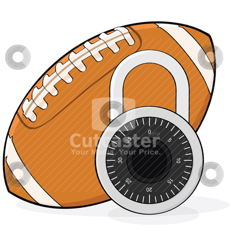 Football lockout stock vector clipart, Concept illustration showing a football and a combination padlock, in allusion to a football league lockout by Bruno Marsiaj