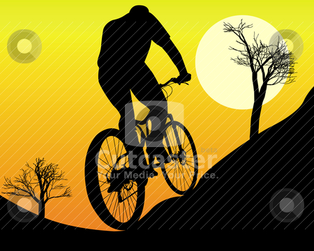 Mountain biker stock vector clipart, mountain biker on an orange background by Yuriy Mayboroda