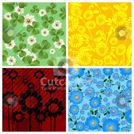 Four floral background stock vector clipart, Set of four floral background, isolated and grouped objects over white by Richard Laschon