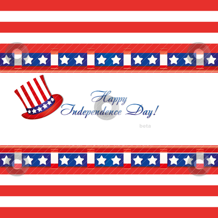 American flag colors on a greetings card and top hat for 4th of July independence day  stock vector clipart, American flag colors in a greetings card and top hat for 4th of July independence day celebrations, vector illustration by Mykhaylo Kushch