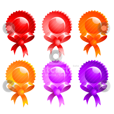 Glossy badges stock vector clipart, a set of 6 glossy badges by scorpydesign