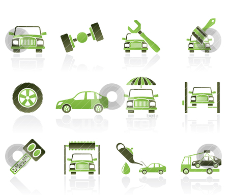 Auto service and transportation icons  stock vector clipart, auto service and transportation icons - vector icon set by Stoyan Haytov