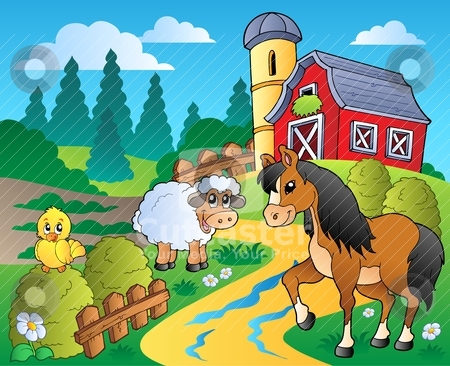 Country scene with red barn 2 stock vector clipart, Country scene with red barn 2 - vector illustration. by Klara Viskova