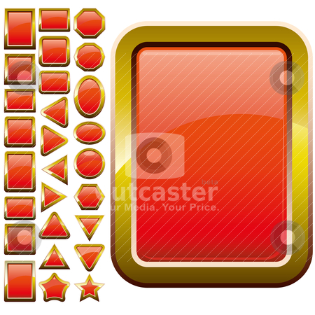 Red buttons stock vector clipart, Set of red glass buttons, glossy icons, web spheres, vector illustration by Mykhaylo Kushch