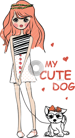 Cute illustration girl with dog  stock vector clipart, drawing sketch pencil illustration by studiodrawing