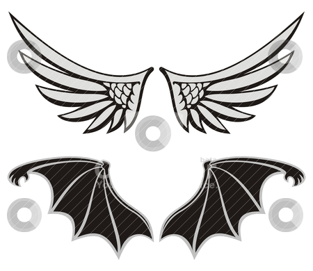 Angel and devil stock vector clipart, Symmetric wing shaped design elements on white background, angel and devil wings. by fractal.gr