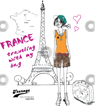 Illustration girls paris stock vector clipart, drawing sketch pencil illustration by studiodrawing