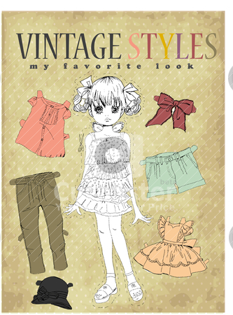 Cute vintage girl  stock vector clipart, illustration sketch drawing pencil  by studiodrawing