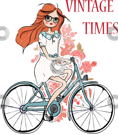 Fashion girl with flower and bicycle  stock vector clipart, illustration sketch drawing pencil by studiodrawing
