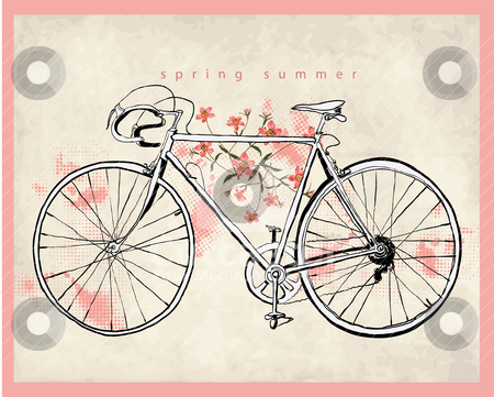 Flower vintage bicycle illustration  stock vector clipart, illustration sketch pencil drawing freehand by studiodrawing