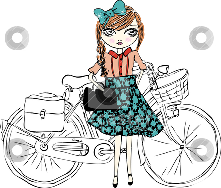 Bicycle illustration girl stock vector clipart, illustration sketch pencil drawing freehand by studiodrawing