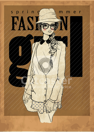 Fashion illustration cover girl  stock vector clipart, illustration sketch pencil drawing by studiodrawing