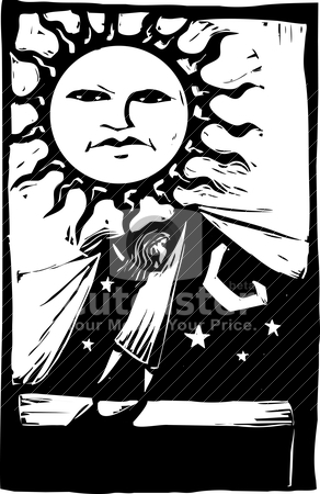 Curtain of Night #2 stock vector clipart, Girl lifting a curtain of sunlight to discover the night sky behind it. by Jeffrey Thompson