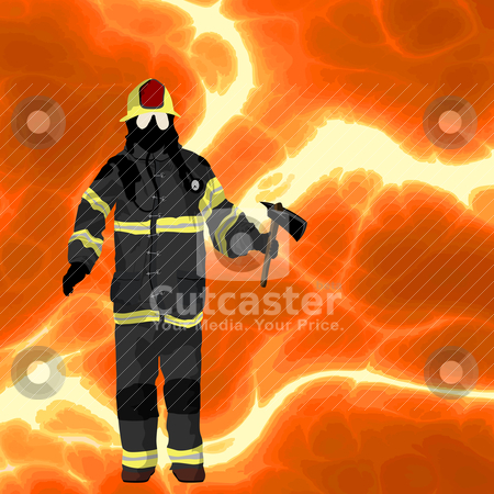 Firefighter background stock vector clipart, Firefighter over flames background, plenty of room for text by Richard Laschon