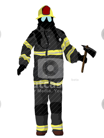 Firefighter stock vector clipart, Fully equipped firefighter with axe, isolated and grouped objects over white background by Richard Laschon