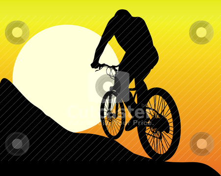 Silhouette of a mountain  biker stock vector clipart, silhouette of a mountain  biker  in the sun and the orange sky by Yuriy Mayboroda