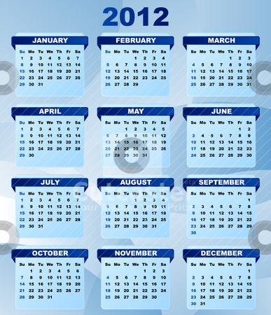 2012 Calendar stock vector clipart, 2012 Calendar With Abstract Blue Background by JAMDesign