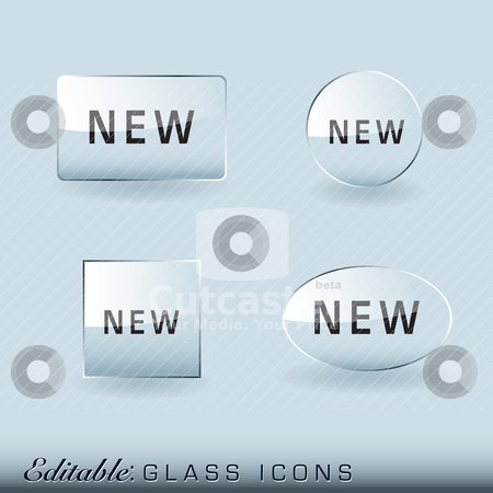 Glass icon collection stock vector clipart, Glass icon collection with light reflection and drop shadow by Michael Travers