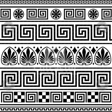 Set of vector greek ornaments stock vector clipart, Set of repeating black greek borders or ornaments on white background by Ela Kwasniewski