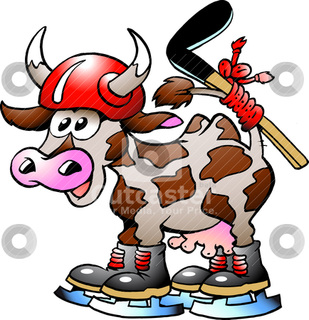Cow Cow Playing Hockey Sport  stock vector clipart, Hockey Cow by DrawShop - Poul Carlsen