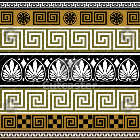 Set of greek borders stock vector clipart, Collection of colorful greek old borders, full scalable vector graphic, change colors as you like by Ela Kwasniewski