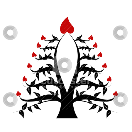 Abstract tree stock vector clipart, Asbtract tree with candles and hearts by Ingvar Bjork