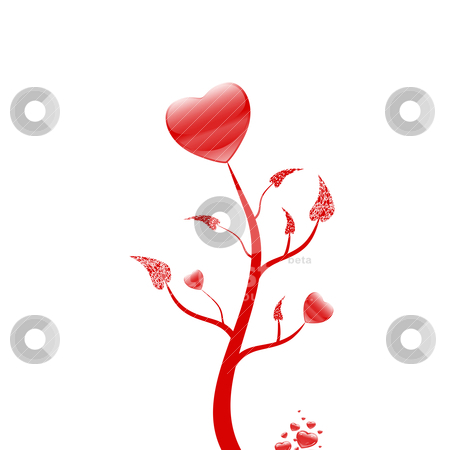 Lovely tree stock vector clipart, Lovely tree with red hearts on white background by Ingvar Bjork