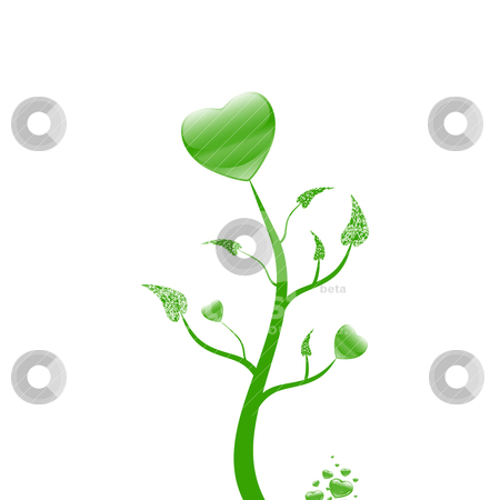 Lovely tree stock vector clipart, Lovely tree with  hearts on white background by Ingvar Bjork