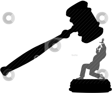 Business person in danger of court injustice gavel stock vector clipart, Injustice system court gavel hits person needing bail bond by Michael Brown