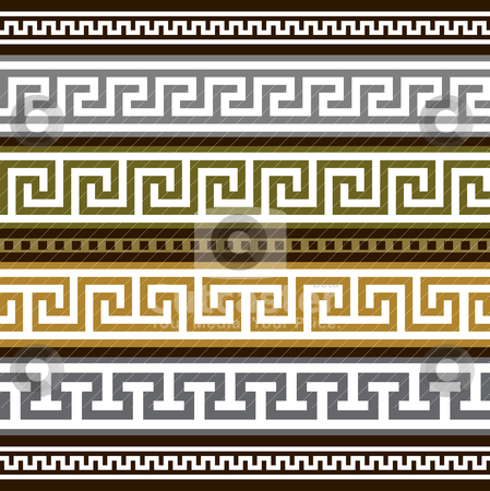 Set of vector greek borders stock vector clipart, Collection of antique greek borders, full scalable vector graphic for easy editing and color change. by Ela Kwasniewski