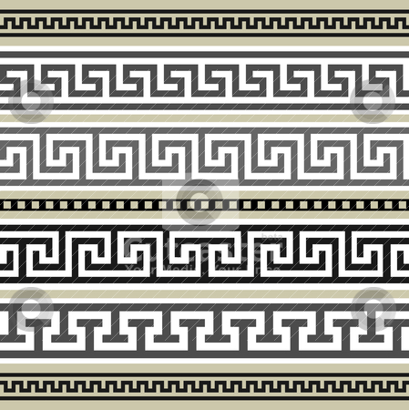 Set of greek geometric borders stock vector clipart, Collection of antique borders, full scalable vector graphic for easy editing and color change. by Ela Kwasniewski