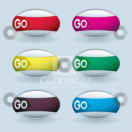 Go water bubble stock vector clipart, Water droplet bubble with colourful wrapper and shadow by Michael Travers
