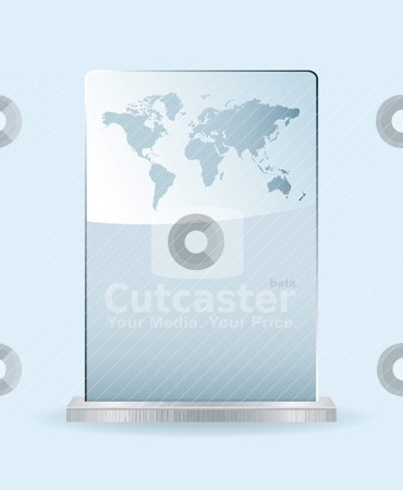 World glass award stock vector clipart, World glass award with spce for your own text and metal base by Michael Travers