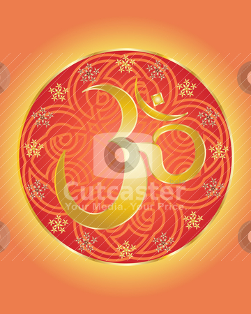 Hindu om symbol stock vector clipart, an illustration of a hindu om symbol in gold with decorative background by Mike Smith
