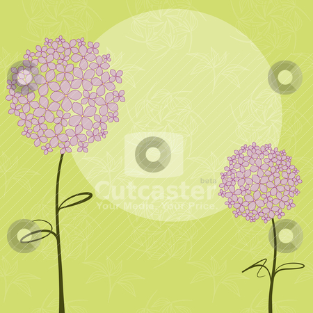 Abstract springtime purple Hydrangea flower stock vector clipart, Abstract springtime purple pink Hydrangea flower on green seamless pattern background by meikis