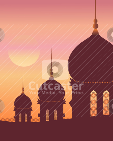 Islamic architecture stock vector clipart, an illustration of islamic architecture with decoration in silhouette against a sunset sky by Mike Smith