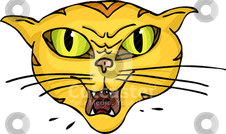 Cat Hiss stock vector clipart, Angry green-eyed striped cat hisses and spits by Eric Basir