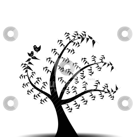 Art tree stock vector clipart, Abstract art tree and birds isolated on white background by Ingvar Bjork