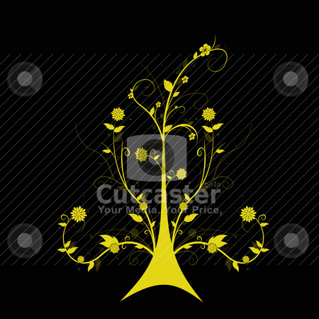 Art floral tree stock vector clipart, Beautiful abstract floral tree isolated on black background by Ingvar Bjork