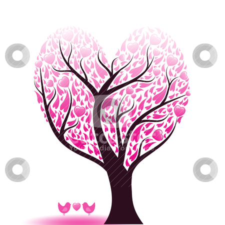Love tree stock vector clipart, Beautiful abstract love tree with hearts and birds by Ingvar Bjork
