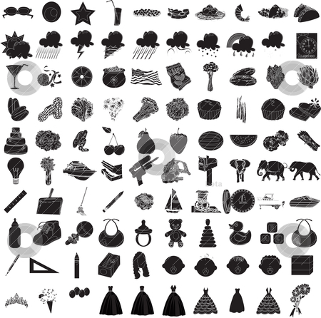 100 Vector Icon Set 3 stock vector clipart, Vector Illustrations of 100 Icon Set 3 by Basheera Hassanali