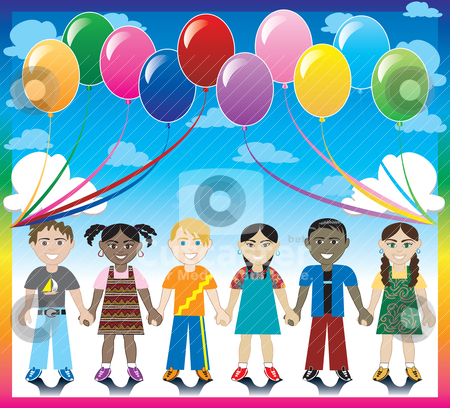 Balloon Background with Kids stock vector clipart, Vector Illustration of 6 happy kids under a rainbow with a colorful background and a place for text or imagery.  by Basheera Hassanali