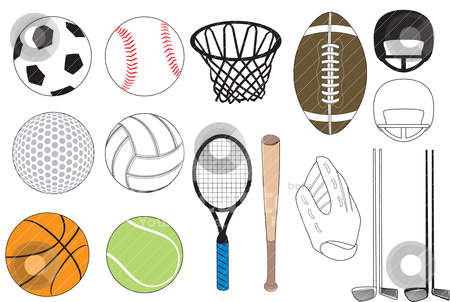 Sports Icons stock vector clipart, Vector Illustration of 15 sports icons siolated. No gradients were used. Available in other versions. by Basheera Hassanali