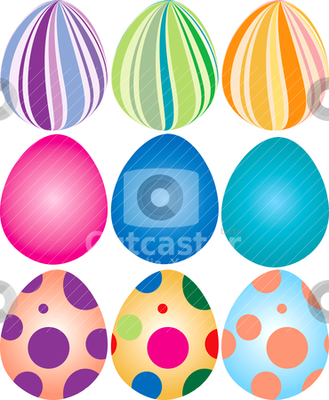 9 Easter Eggs stock vector clipart, Vector Illustration of 9 decorated easter eggs. by Basheera Hassanali