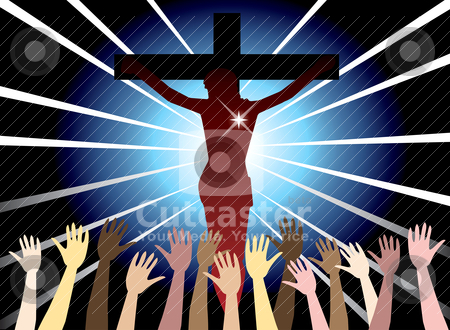 Easter Resurrection stock vector clipart, Vector Illustration of Jesus Christ on cross. Easter Resurrection. by Basheera Hassanali