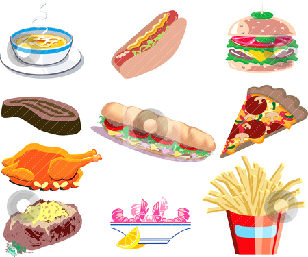 Different Food Icons stock vector clipart, Vector Illustration of ten types of prepared food. by Basheera Hassanali