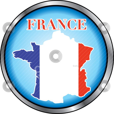 France Round Button stock vector clipart, Vector Illustration for France, Round Button. Used Didot font. by Basheera Hassanali