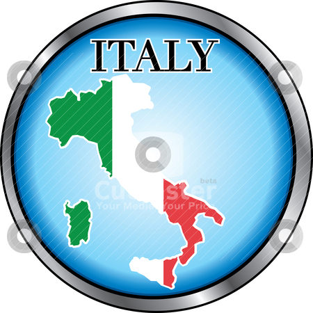 Italy Round Button stock vector clipart, Vector Illustration for Italy, Round Button. Used Didot font. by Basheera Hassanali