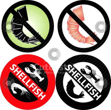 No Shellfish Sign stock vector clipart, Vector Illustration of four No Shellfish Signs. See my others in this series. by Basheera Hassanali